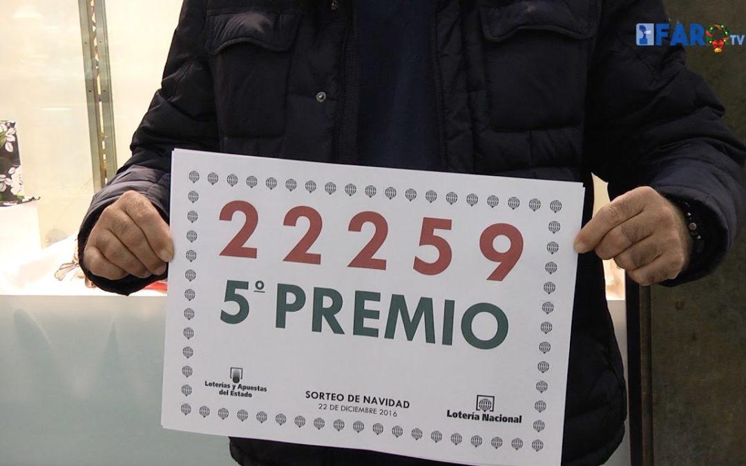 El Quinto Premio de la Lotería, nº 22.259, deja 60.000 € en Ceuta