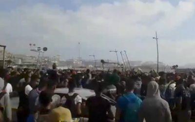 Los porteadores protestan en Marruecos por el cierre de Tarajal II