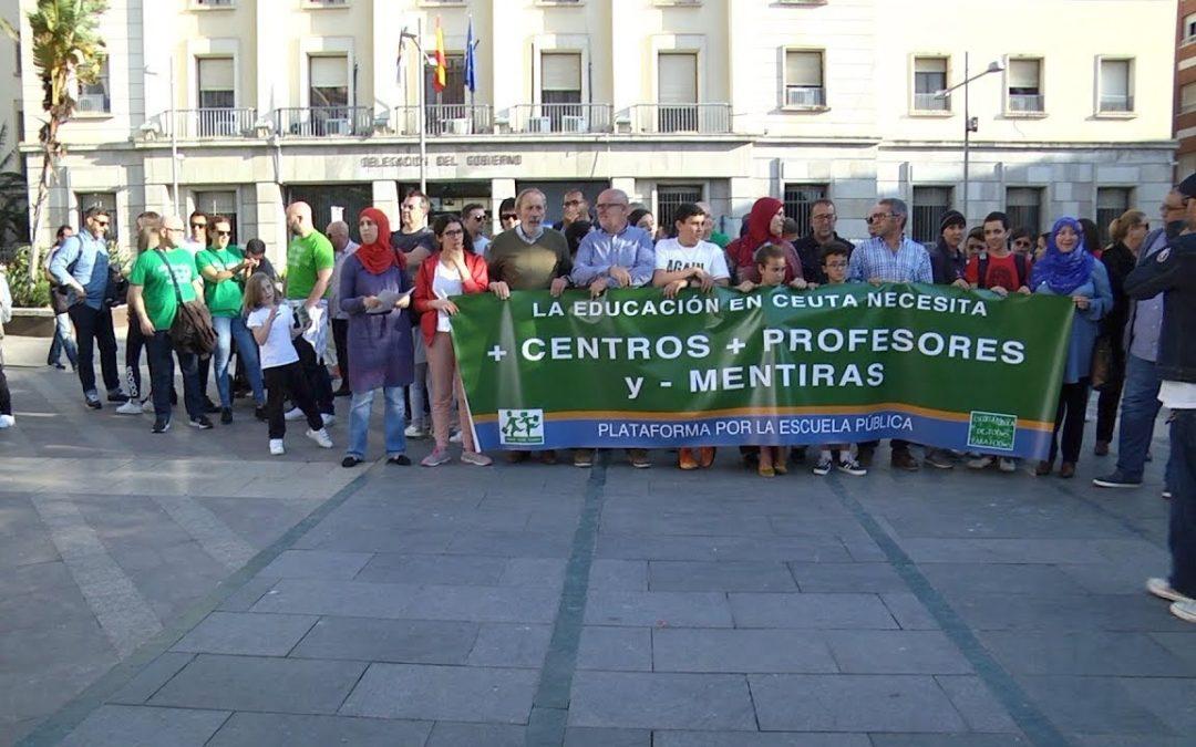 La marea verde de Ceuta reclama dividida mejoras en la Educación Pública