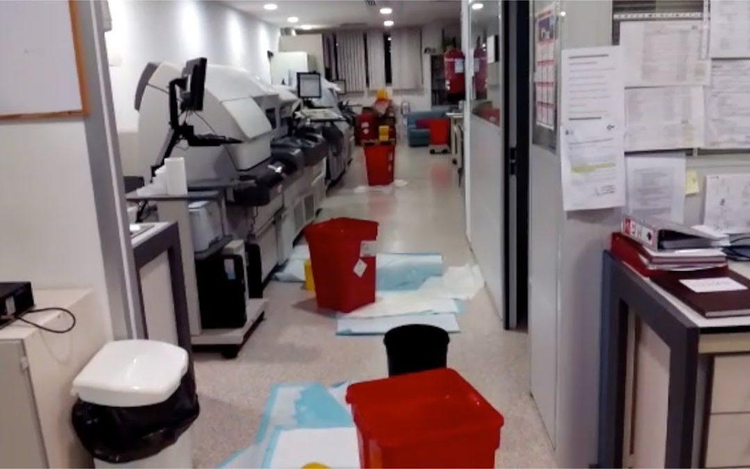 El temporal inunda el laboratorio del Hospital Universitario