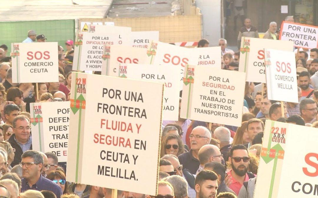 La protesta por el caos de la frontera toma las calles de Ceuta